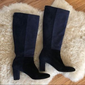 Aquatalia Quiz Knee-High Blue Suede Tall Boots 10